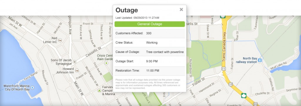 Outage Map - North Bay Hydro